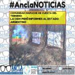 COMUNIDAD MAPUCHE DE CUESTA DEL TERNERO: LA CIDH PIDIÓ INFORMES AL ESTADO ARGENTINO
